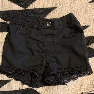 Black toddler shorts lace detailed